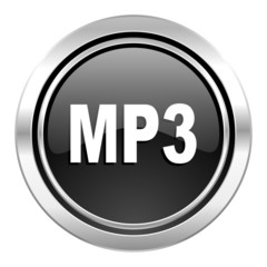 mp3 icon, black chrome button