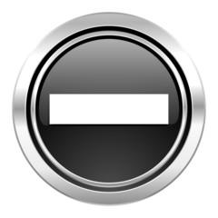 minus icon, black chrome button