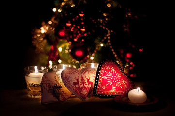hearts , decorations and christmas lights, merry christmas