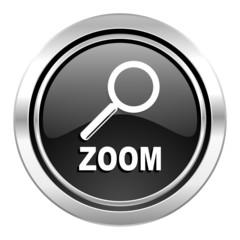 zoom icon, black chrome button