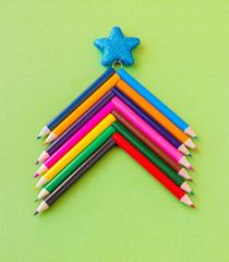 Colorful pencils as christmas tree,