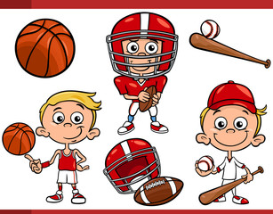boy with sport equipment cartoon set