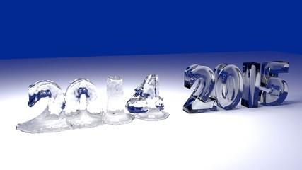 Jahr 2015 und 2014 aus Eis am schmelzen 3d Grafik