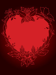 Red floral heart background