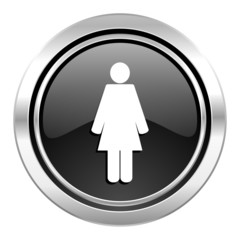 female icon, black chrome button, female gender sign
