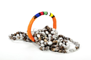 Coiled Zulu Beaded Necklace with Bright Orange Armband