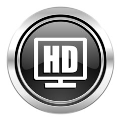 hd display icon, black chrome button