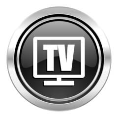 tv icon, black chrome button, television sign