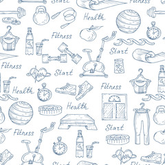 Vector pattern with healthy lifestyle symbols in white