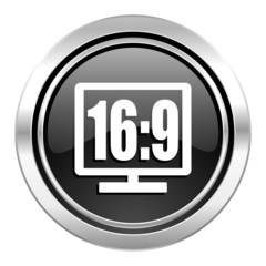 16 9 display icon, black chrome button