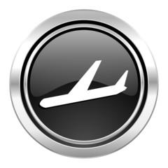 arrivals icon, black chrome button, plane sign