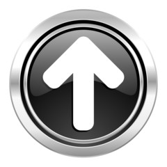 up arrow icon, black chrome button, arrow sign