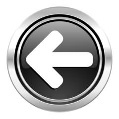 left arrow icon, black chrome button, arrow sign