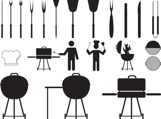 Barbecue grill and tools