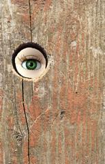 Doll's eye looking through hole in board