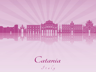 Catania skyline in purple radiant orchid