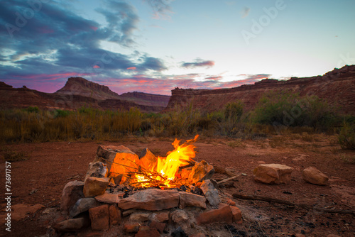 Bonfire after Sunset Camping in Utah