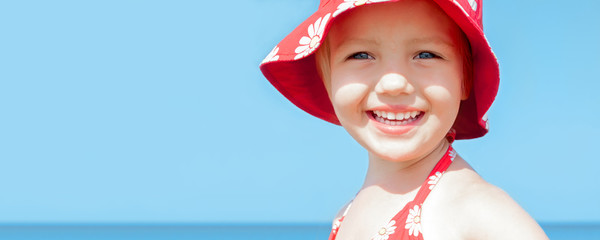 summer sea vacation panoramic background happy beautiful child g