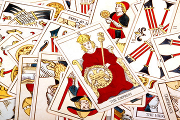 Large Scattered Collection of Colorful Tarot Cards