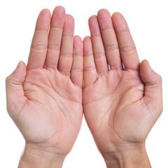open hands of a man