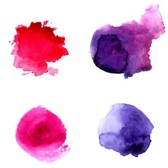 Violet and pink watercolor circles. Vector backdrop.