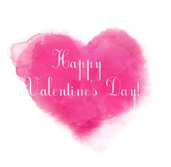 Pink watercolor heart with text Happy Valentine's day