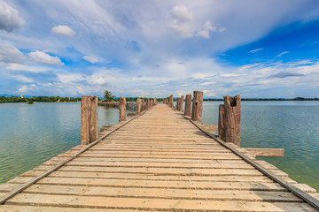 U-bein bridge at Taungthaman lake in Amarapura, Myanmar