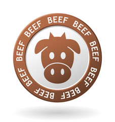 vector beef meat circle icon