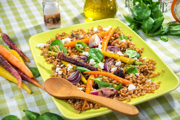 Healthy Salad with Spelt, Vegetable and Feta