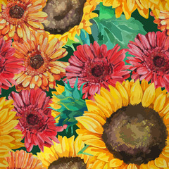 pattern of sunflowers with gerbera flowers
