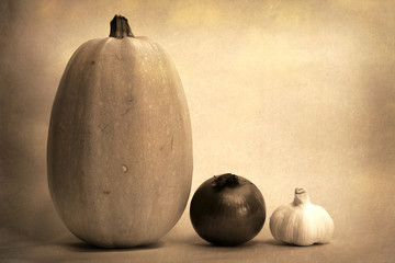 Spaghetti Squash, Onion and Garlic old style photograph