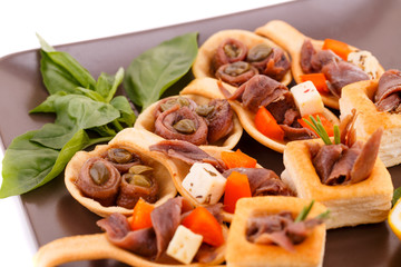 Anchovies in pastries