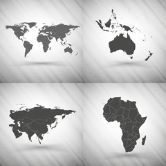 World maps set on gray background, grunge texture vector