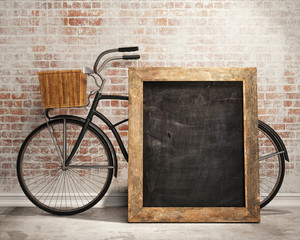 mock up black board in loft interior background with bicycle