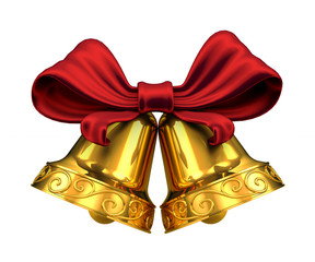 Golden bells and red ribbon isolated on white background