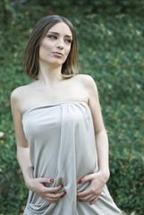 Gorgeous woman posing outdoors photo