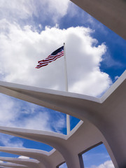 American Flag Flying Over Pearl Harbor
