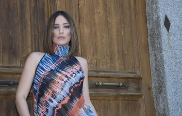Pretty woman posing outside, featuring my new greek model