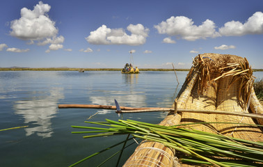 Reed boat on Uros floating island, Titicaca lake, Peru