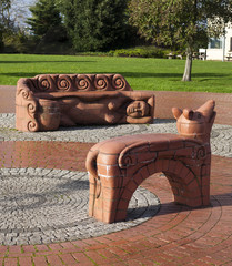 Dylan Thomas Beastie Benches Cardiff Bay