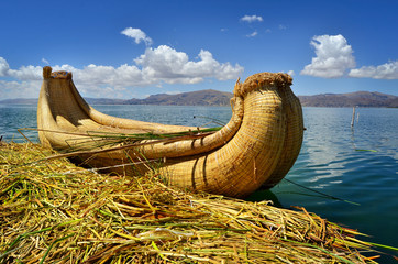Reed boat on Uros floating island, Titicaca lake,Peru