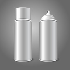 Two blank vector aerosol spray metal 3D bottle cans - opened and