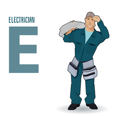 flat vector profession Letter E - electrician