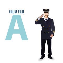 flat vector profession Letter A - airline pilot