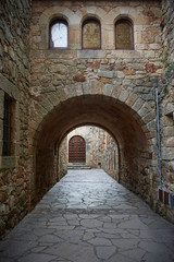 Streets of Pals, a small medieval village in Costa Brava, Spain.