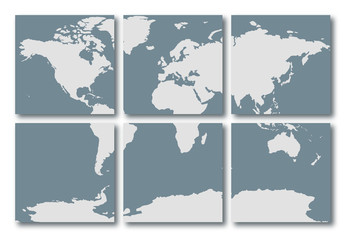 Blue world map illustration made of tiles