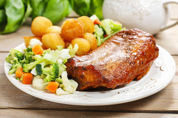 Roasted rabbit with vegetables