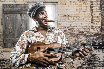 Cuban musician playing song and smoking cigar