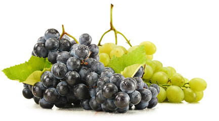 Two bunches of red and white grapes isolated on white
