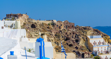 View at old fortress ruins in Oia city, Santorini island, Greece